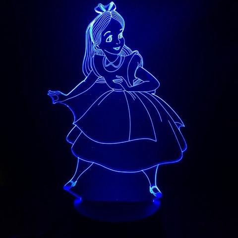 figura de princesa alice in maravilha decorativa criancas luzes noturnas led decoracao do quarto das
