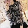 2017 nueva primavera las mujeres de Corea del largo collar collar impreso camisa de gasa neta del hilado de manga larga que basa la camisa de la manera de la cintura camisa