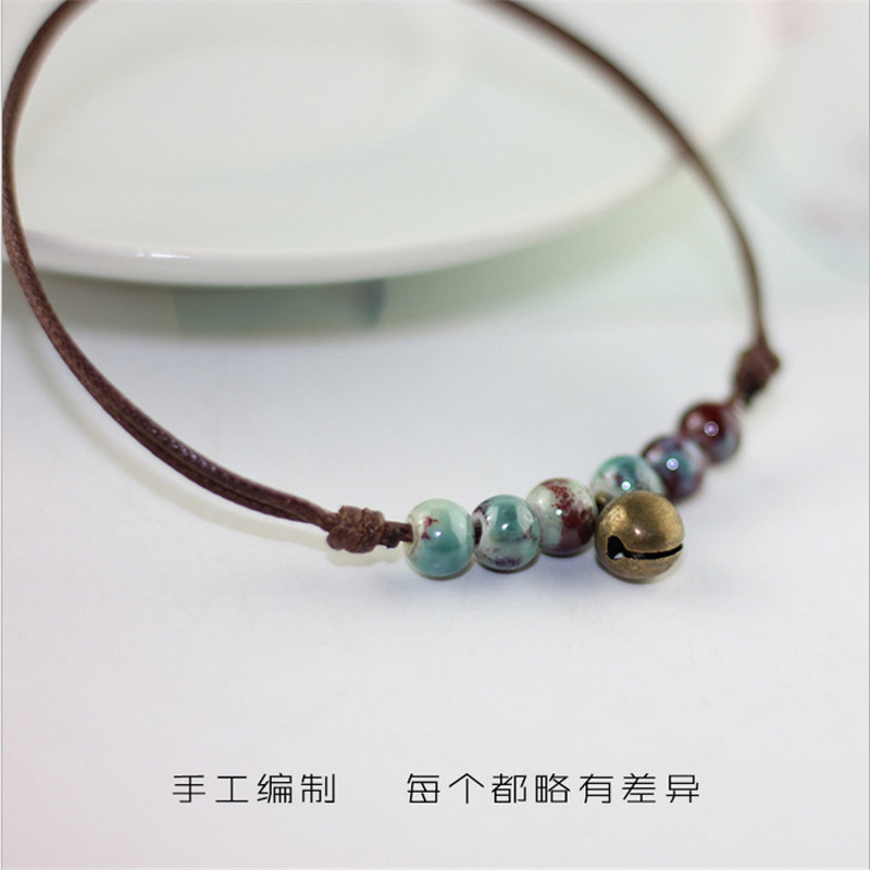 New Beach Barefoot Summer Style Infinite Ceramic Beads Anklets Adjustable Rope Chain Bell Ankle Bracelet Foot For Women Jewelry