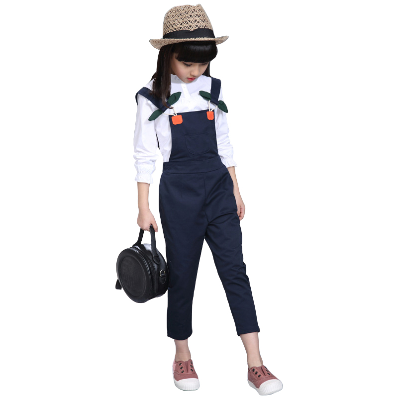 kids winter clothes age for 4- 12 big girl autumn white t-shirt+overalls pants 2pcs sets back to school outfit children clothing pants white kids clothes children clothing