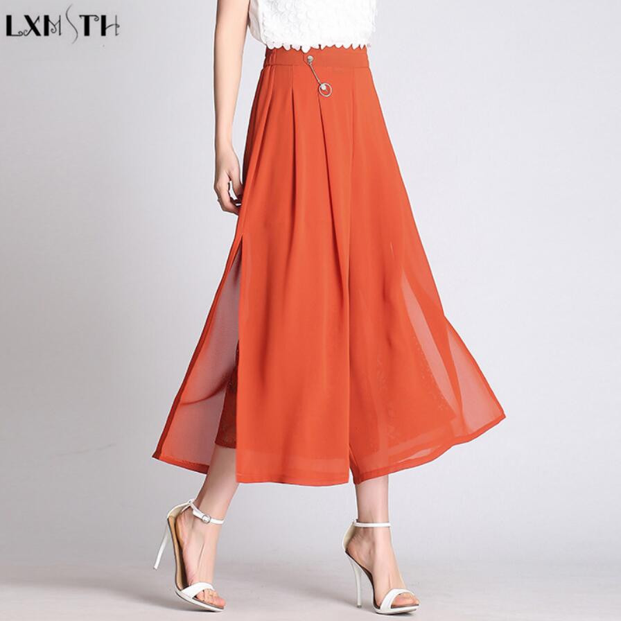 LXMSTH Spring Women's Loose Chiffon   Pants   Fashion Lace Patchwork High Waist Loose   Wide     Leg     Pants   Elastic Waist Plus Size Orange
