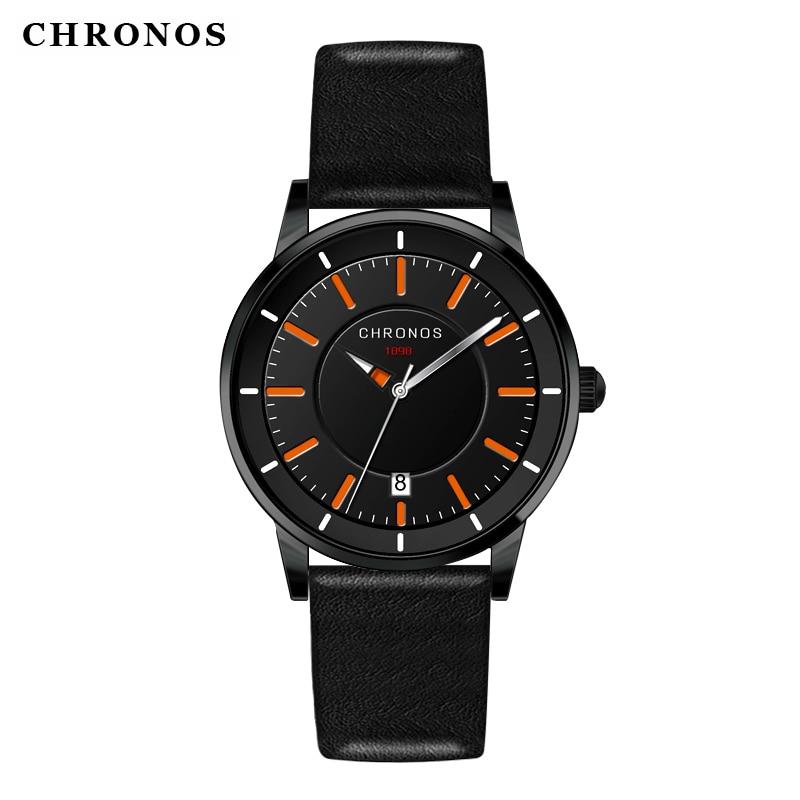 Reloj de los hombres de cuero genuino impermeable reloj de pulsera de - Relojes para hombres - foto 2