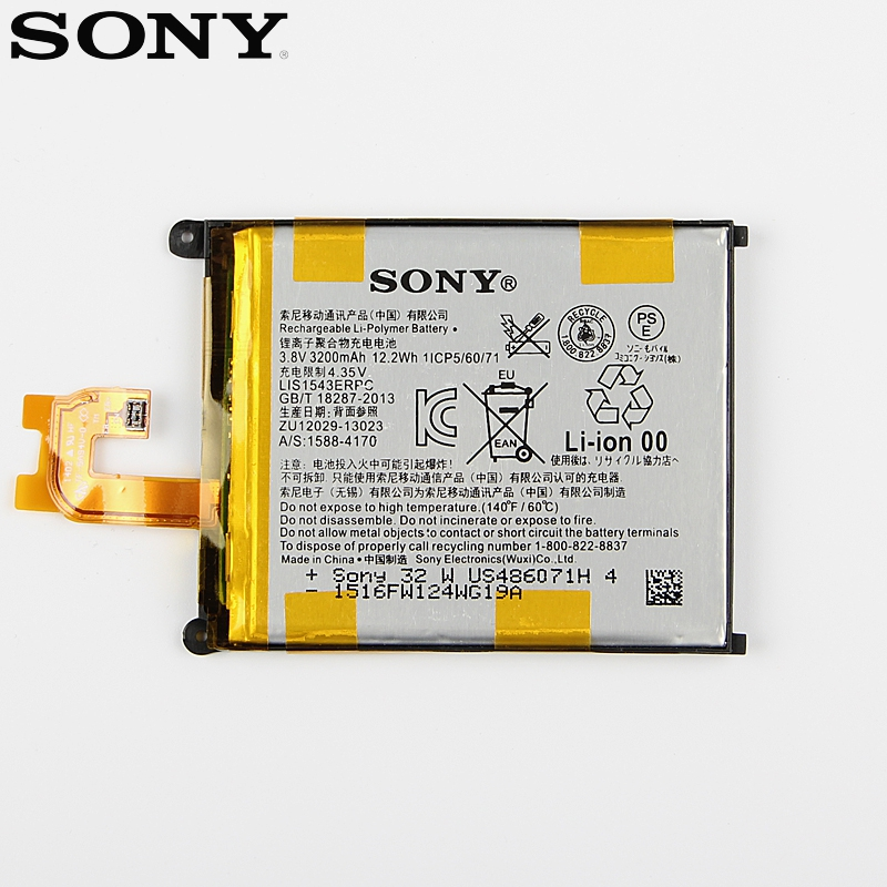 Original Replacement Sony Battery For SONY Xperia Z2 L50w Sirius SO-03 D6503 D6502 LIS1543ERPC Genuine Phone Battery 3200mAh
