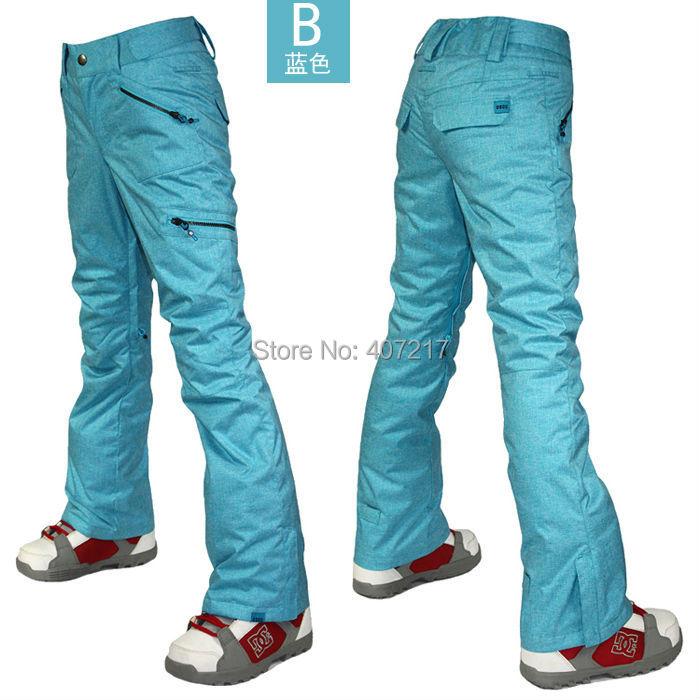 2016 gsou snow women's blue ski pants female snowboarding skiing pants riding skating pants snow pants waterproof top quality