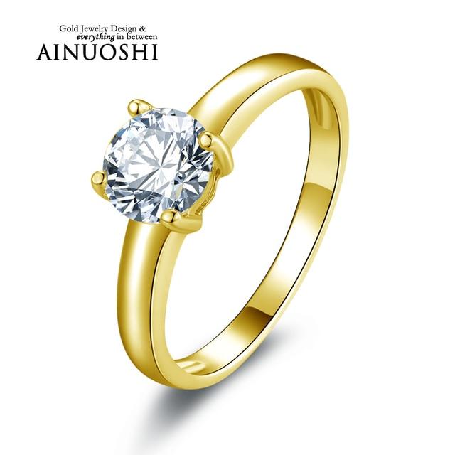 AINUOSHI 10k Solid Yellow Gold Wedding Ring 1 ct Simulated Diamond Eternity Aneis Feminino Jewelry Women Wedding Ring Customized