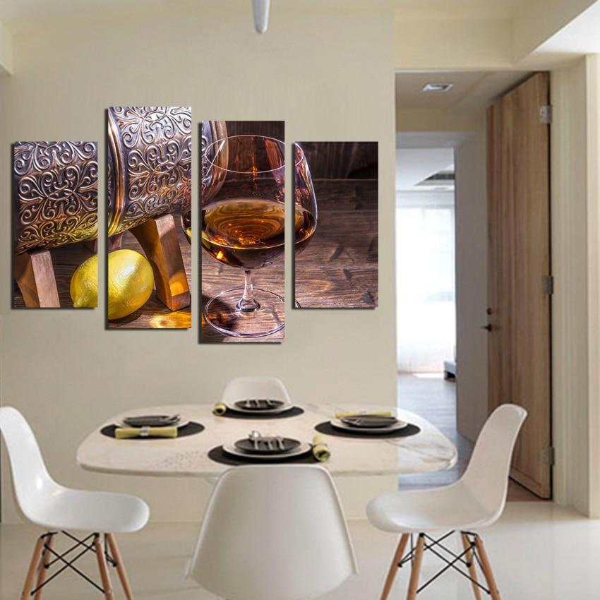 4panel Canvas Art Fruit Lemon Wine Gl Modular Pictures For Kitchen Living Room Wall Decor Prints Paintings No Fra
