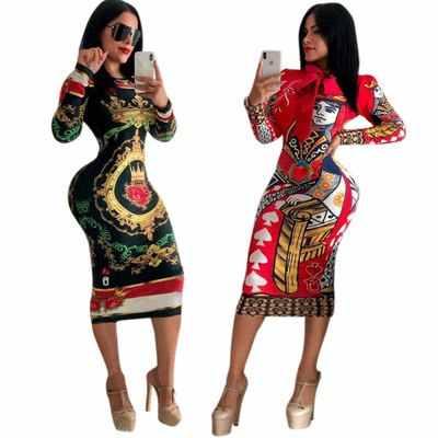 2018 African Dashiki Mode Kurze Afrikanischen Traditionellen Druck Kleid Neue Große Elastische Herbst Design Langarm Anzug Für Dame