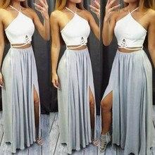 da5c3ee44 فستان نسائي بحمالات مجزأة فستان صيفي مثير بدون أكمام بظهر مكشوف فساتين  طويلة مقاس كبير ملابس نسائية s m l xl xxl