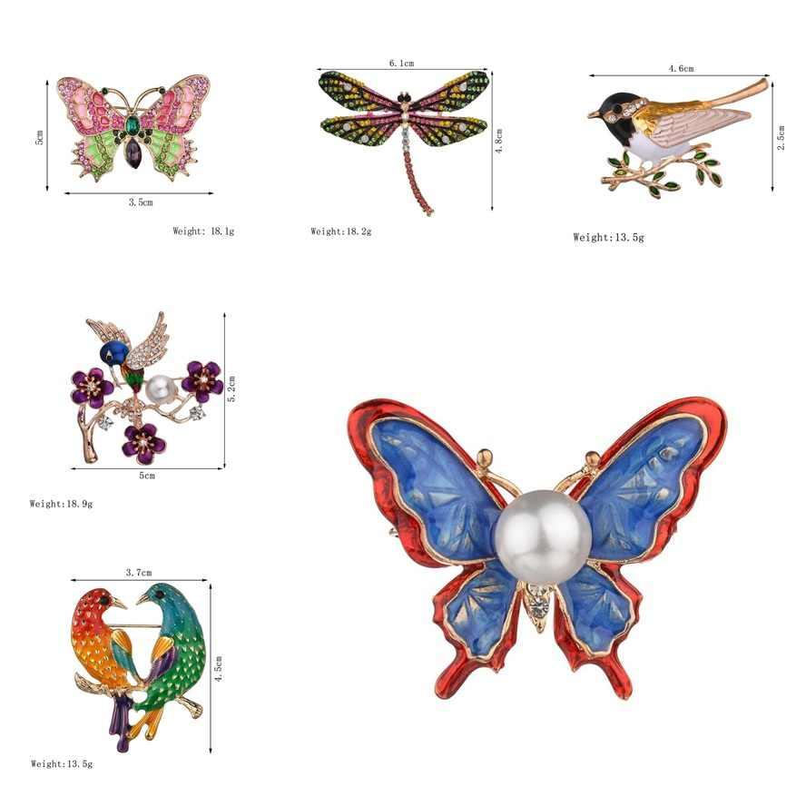 Di Modo caldo Colorata A Mano Farfalla Coppia di Uccelli Libellula Di Cristallo Spilla di Strass Spille per Le Donne Della Signora Dei Monili di Costume 2018