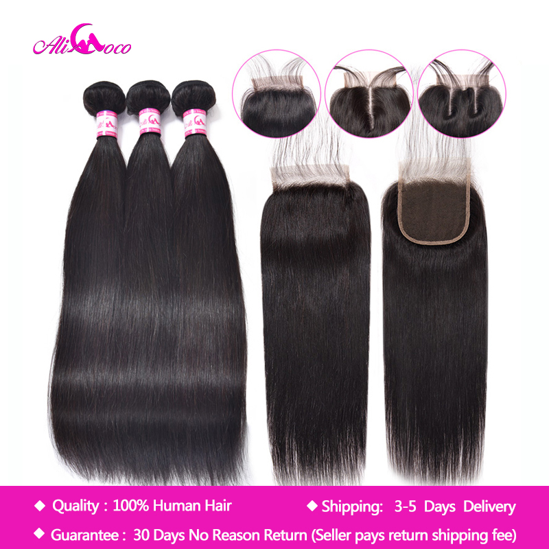 Brazilian Straight Hair With Lace Closure 8-30 Inch Natural Color/#2/#4/1/4/27/ Omber Human Hair With Closure Non Remy Ali Coco