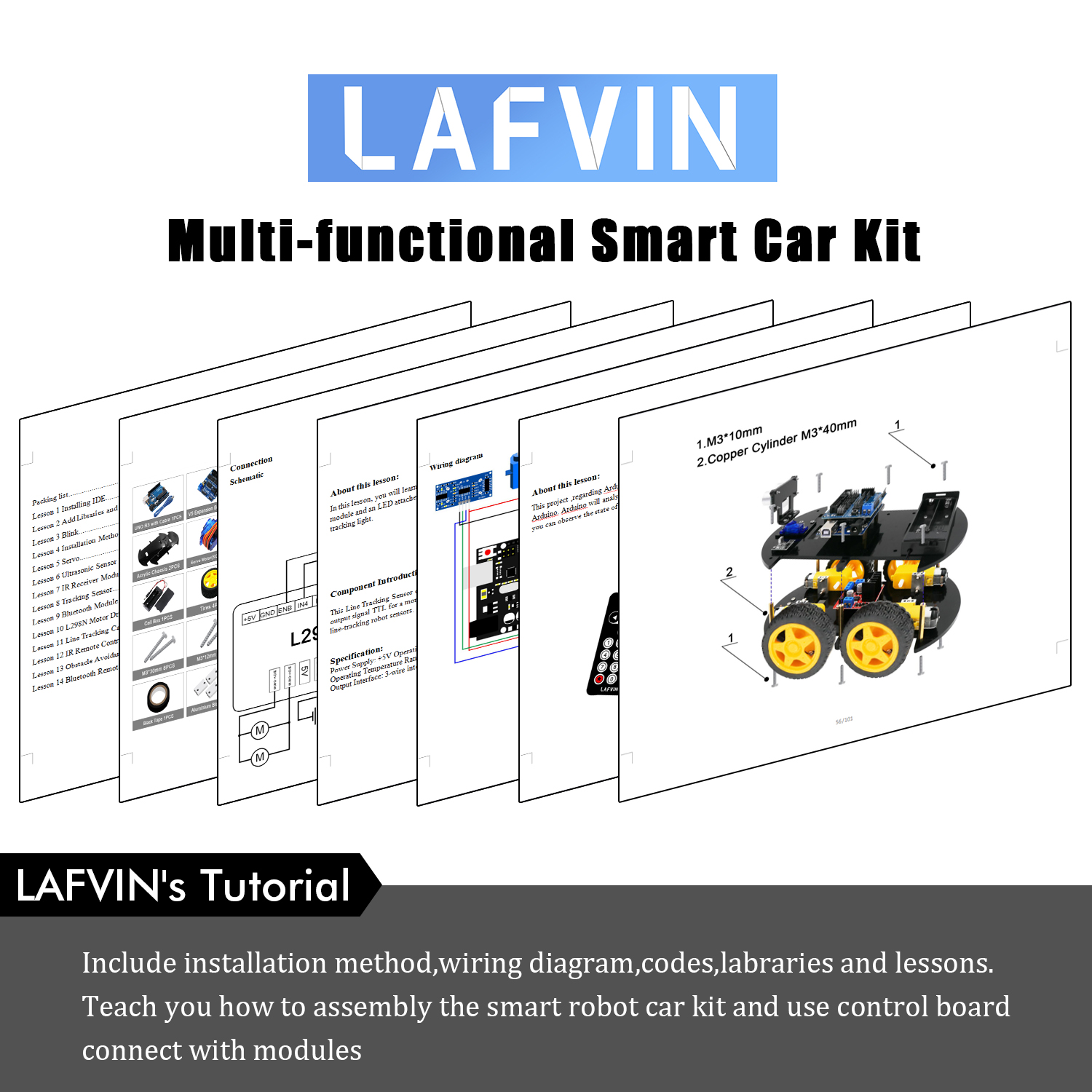 Lafvin Smart Robot Car Kit With Uno R3 Ultrasonic Sensor Bluetooth Transformer Diagram Obstacle Avoidance Arduino Circuit 1pcs Cd Tutorial