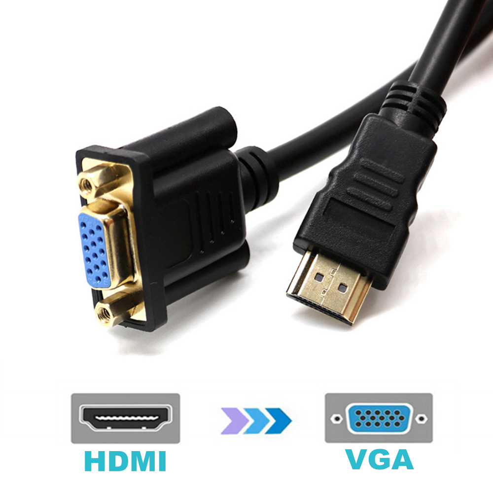 Gold Plated 30cm Hdmi Male To Vga Female Adapter Cable