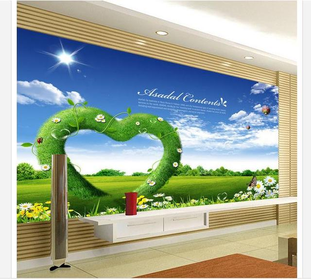 Customized 3d wallpaper 3d wall murals wallpaper Small fresh spring  landscape painting TV wall living room photo wallpaper-in Wallpapers from  Home