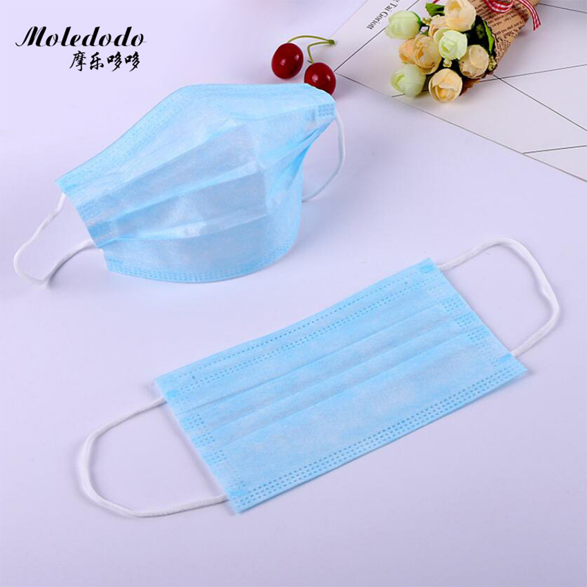 10pcs Disposable Mouth Mask 3-Layer Non-woven Face Mask Anti Dust Mouth Nose Cover Medical Respirators Unisex Color Packing D50