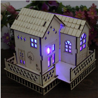 New Creative Wooden Small House With Light Green Wood Ornaments Small Western Style Villa Model Birthday