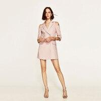Ngắn Tay Áo Dài Blazer Váy Phụ Nữ Strapless Hồng Đôi Ngực Nữ Kinh Doanh Phù Hợp Với Blaser Femenino Woman Outwear KC7C034
