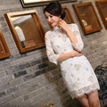 New Arrival Chinese Tradition Mandarin Collar Women's Lace Embroidery Mini Cheong-sam Qipao S M L XL XXL TZM2015015