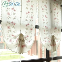 Elegant pastoral style cotton linen living curtain roman Embroidered pink flower balloon home decor white curtains for bedroom
