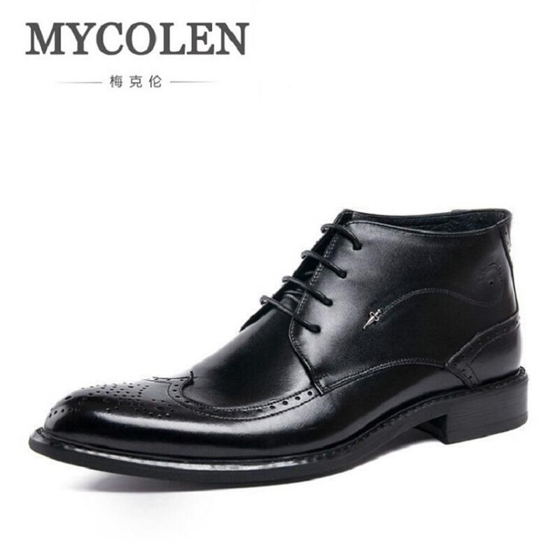MYCOLEN Boots Men Autumn Winter Leather Ankle Boots British Fashion Style Lace-Up Cowboy Boots Casual Men's Dress Shoes 2017 new autumn winter british retro men shoes zipper leather breathable sneaker fashion boots men casual shoes handmade