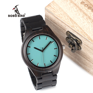 Image 2 - BOBO BIRD WI21 خشب الأبنوس ساعة رجالي العلامة التجارية الأعلى الأزرق بسيط خشبي باند كلاسيكي كوارتز ساعة اليد كهدية قبول OEM Relogio