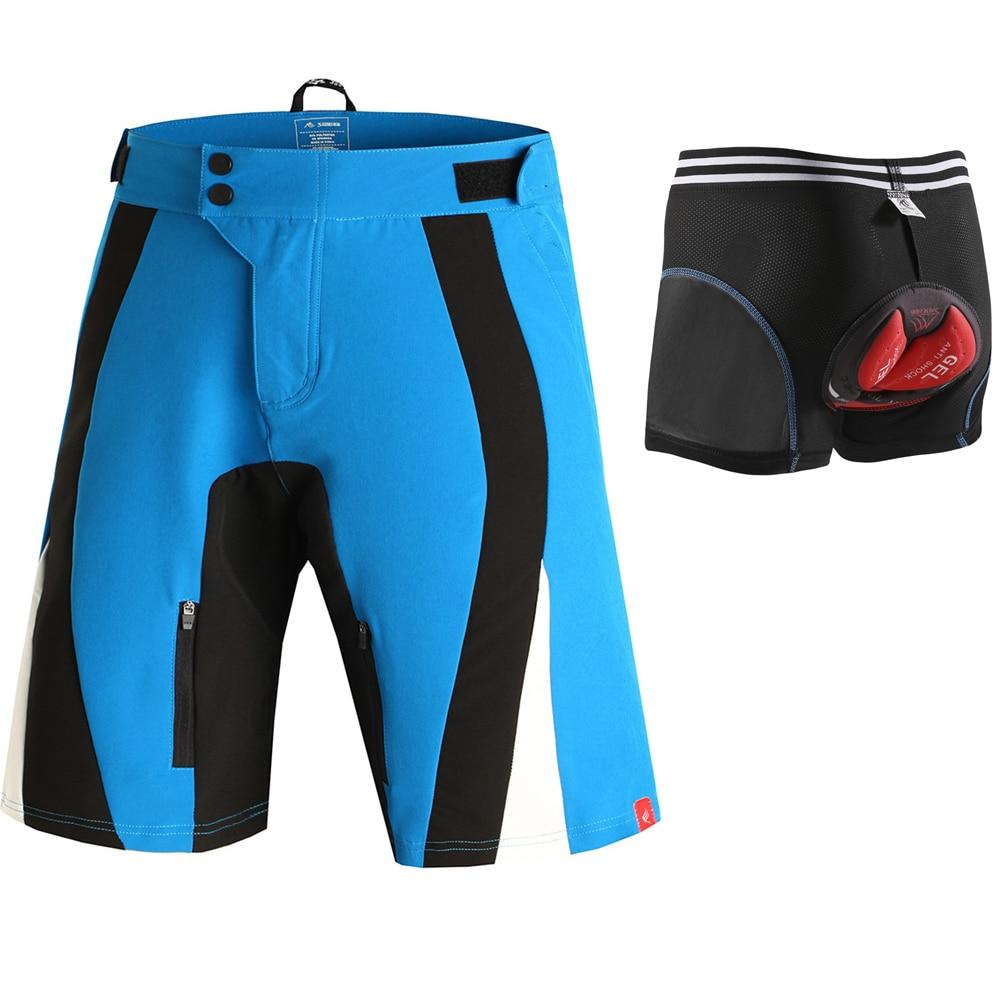 SAENSHING Cycling Shorts Men + 5D Gel Pad Cycling Underwear Padded MTB Bicycle Mountain Bike Shorts Downhill Bermuda Breathable