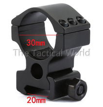 Tactical Scope Ring Mount Heavey Duty 30mm Fit For 20mm Rail Rifle 6 Bolts High Profile