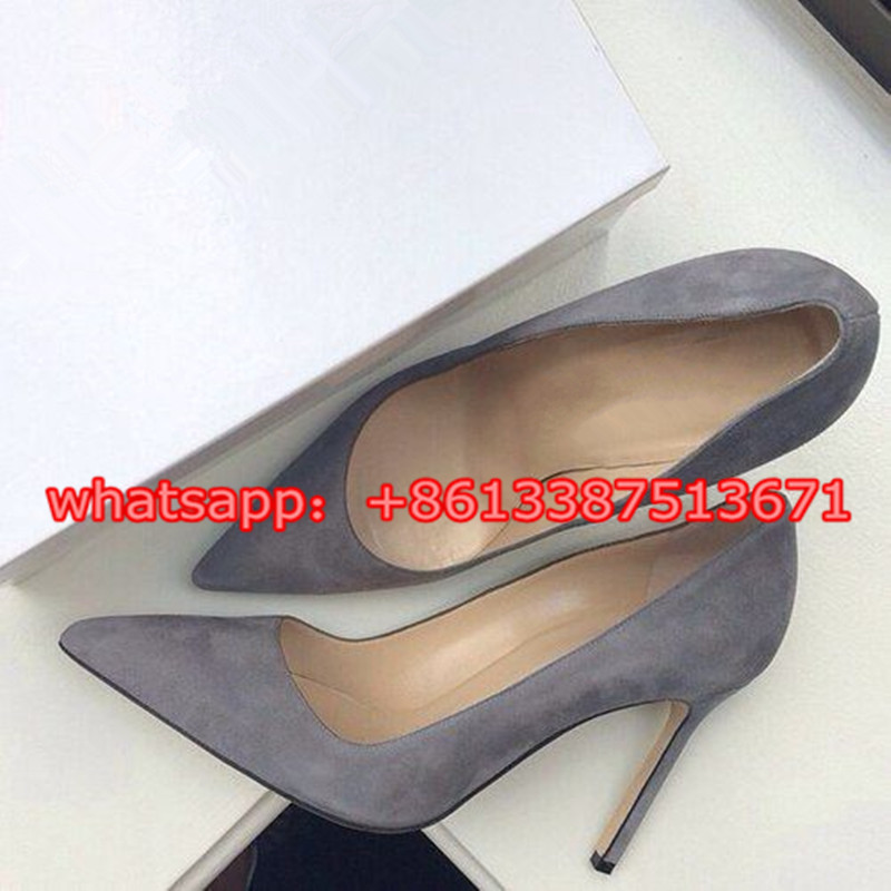 ФОТО Fashion Grey Suede Leather Pointed Toe Women Pumps Slip On Stiletto High Heel Classics Shallow Shoes Party Wedding Shoes Women