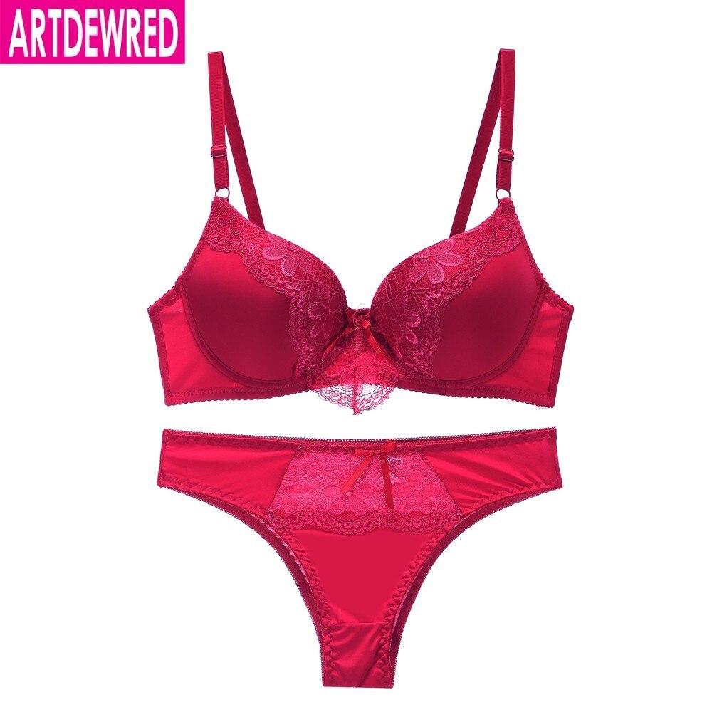 New 2019 Bra Brief Set Sexy Plus Size Women Bra Set Push Up Lace Underwear Set Intimate Bra Panty Set 36-44 BC Cup