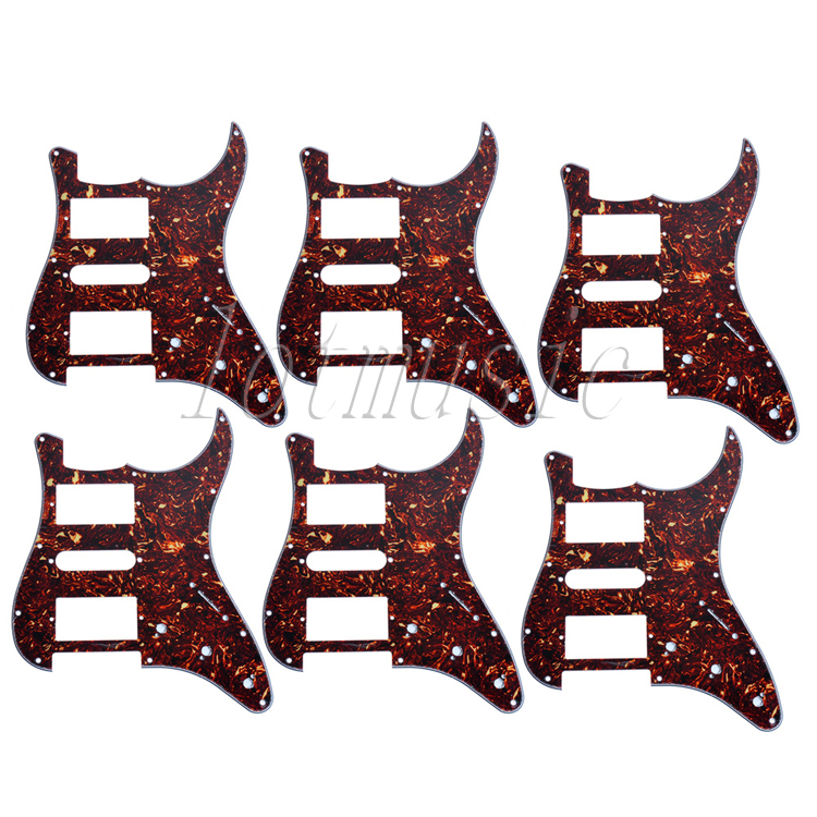 6Pcs New Dark Brown Tortoise Shell HSH 3Ply Guitar Pickguard for Electric Strat Replacement musiclily 3ply pvc outline pickguard for fenderstrat st guitar custom