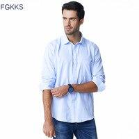 FGKKS Lange Mouw Mannen 2018 Herfst Nieuwe Mode Designer Hoge Kwaliteit Solid Shirt Niet Ijzer Slim Fit Business Shirts