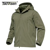 TACVASEN Softshell Military Tactical Jacket Men Waterproof Warm Coat Winter Camouflage Hooded Jacket Army Clothing TD