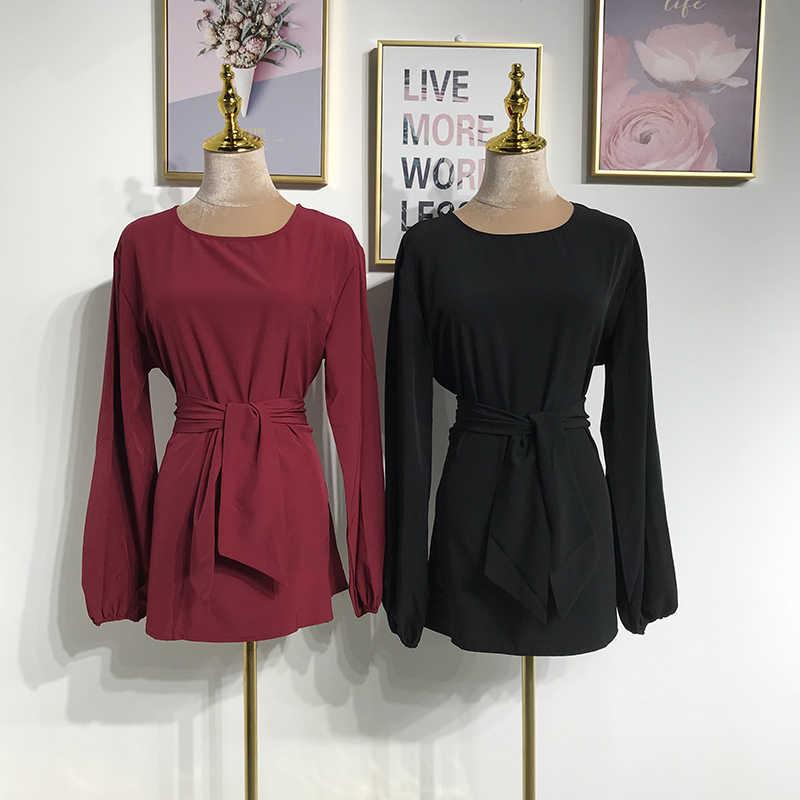 ضمادة العباءة التركية مسلم تركيا الإسلامية ملابس طويلة الأكمام قمصان بلوزة فضفاض طويل بلايز ملابس النساء روبا Turca موهير