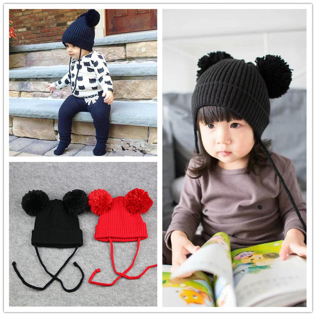 1-4 years old baby hat south Korean version of the hot - line hat baby cute  two-ball knit hat mickey hat winter children s hat 6f7cf269cdf