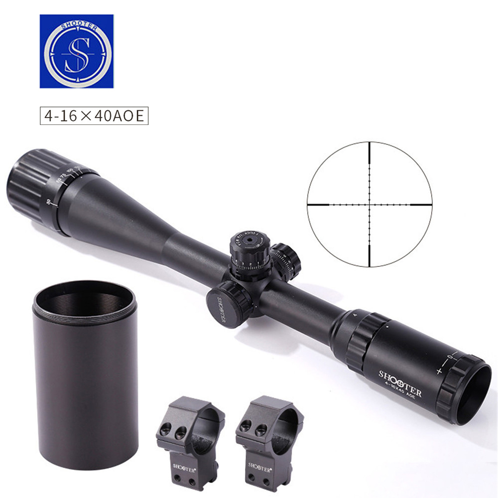 SHOOTER 4-16X40AOE Optic Rifle Sight Scope Traveling Hunting Outdoor Monocular telescope High Quality Gun Accessories rifle scope canis latrans cl1 0285 3x 9x illuminated crosshair outdoor sight hunting traveling monocular gun scope 20mm or 11mm