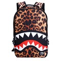 2016 New Fashion Leopard  Shark Mouth Backpacks For Teenagers Travel Backpack Kids School Bags Cute Bag Child Mochila