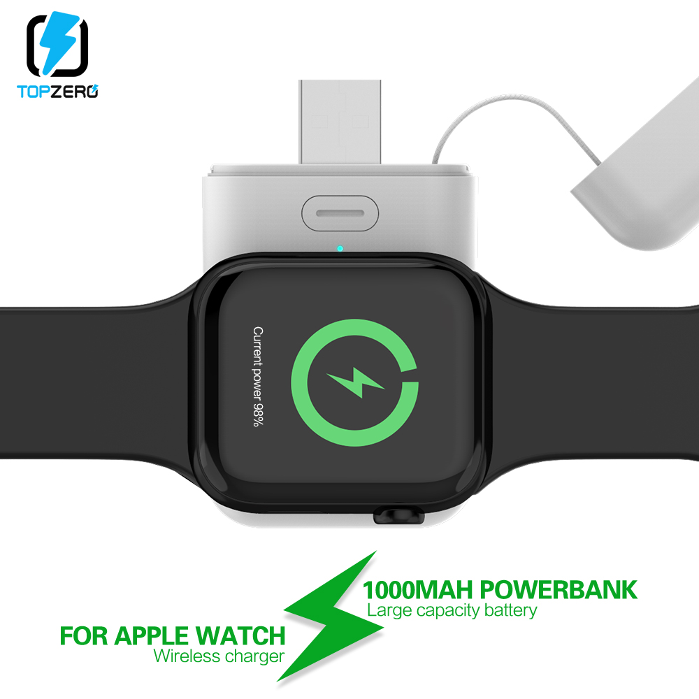 <font><b>1000mAh</b></font> Wireless Charger Powerbank For Apple Watch 1 2 3 4 mini <font><b>power</b></font> <font><b>bank</b></font> For iWatch 1 2 3 4 External Battery Charge Case USB image