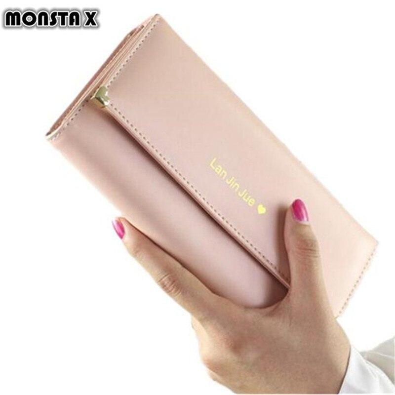 MONSTA X Best Deal Fashion Handbags Lady Women Wallets Bag Popular Purse Long PU Handbags Card Holder Birthday Bags