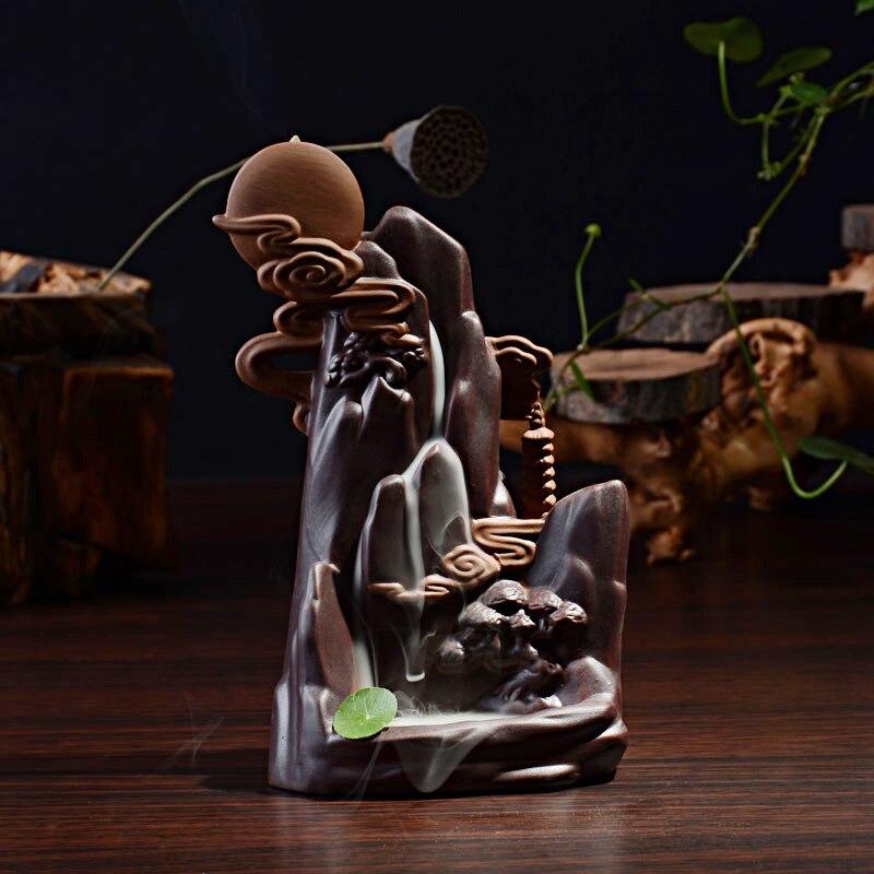 Livraison gratuite décor à la maison en céramique rétro flux cône brûleur d'encens salon artisanat encensoir Base créative lune montagne Stream-in Encens et brûleurs d'encens from Maison & Animalerie    1