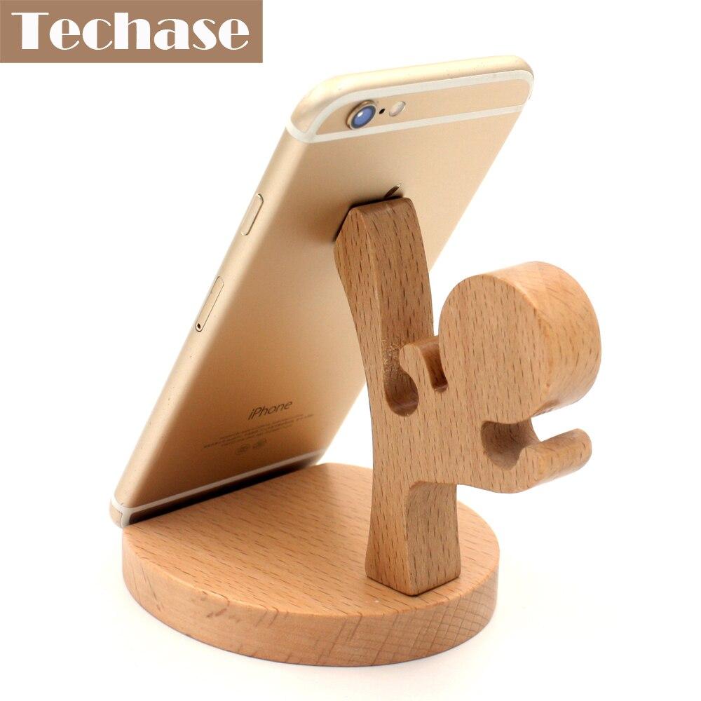 Techase Dudukan Telepon Kayu Suporte Celular Kongfu Telefon Tutucu - Aksesori dan suku cadang ponsel - Foto 2
