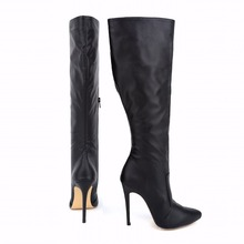 New fashion Women's Winter Boots Sexy High-Heeled Shoes Warm Wide Calf Plush Boots Large Size Woman Shoes 769-3MA