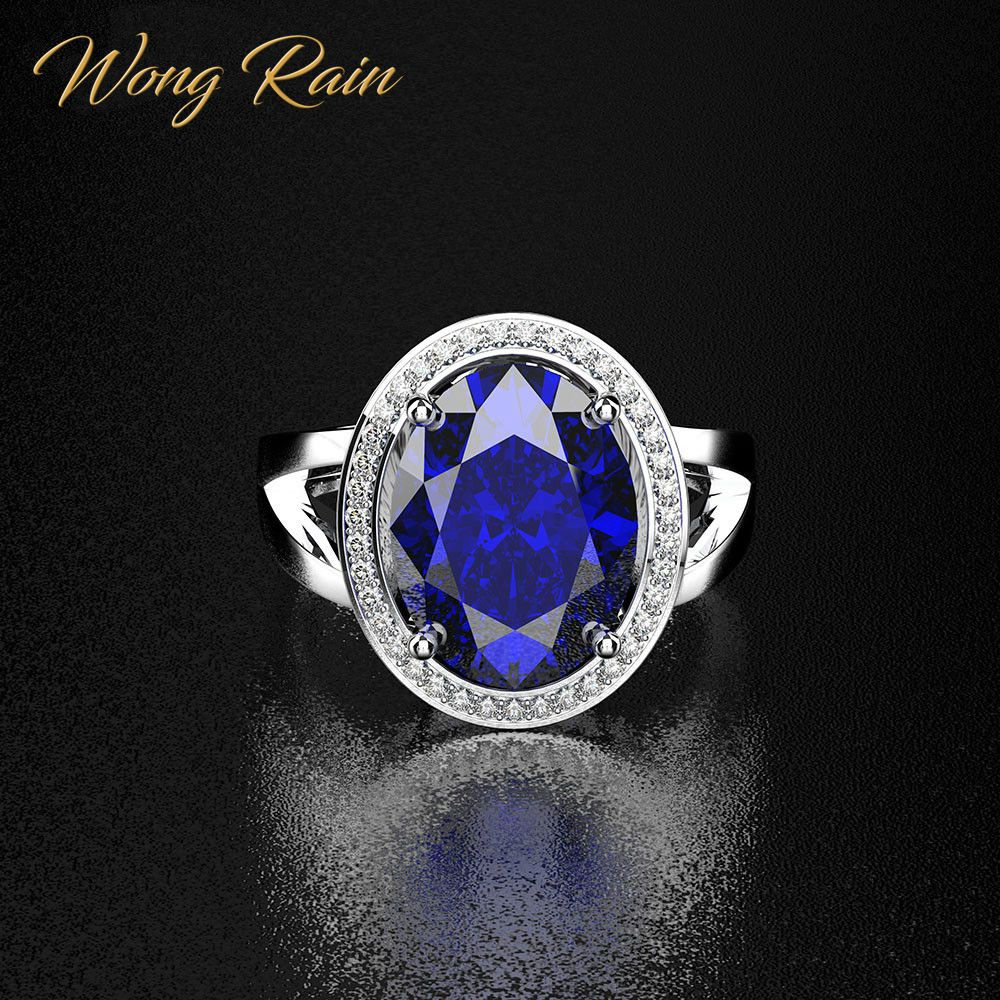 Wong Rain 100% 925 Sterling Silver Created Moissanite Sapphire Gemstone White Gold Opening Adjustable Ring Jewelry Wholesale