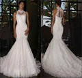 Mermaid High Neck Lace Wedding Dresses See-through Back Buttons Appliques Sweep Train Bride Gowns vestido de noiva