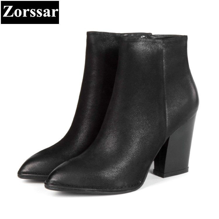 {Zorssar} 2018 NEW Large size Women Boots Genuine Leather platform High heels ankle Chelsea boots Autumn winter womens shoes zorssar 2017 new winter ladies shoes fashion real leather women ankle boots high heels platform womens martin boots size 33 43