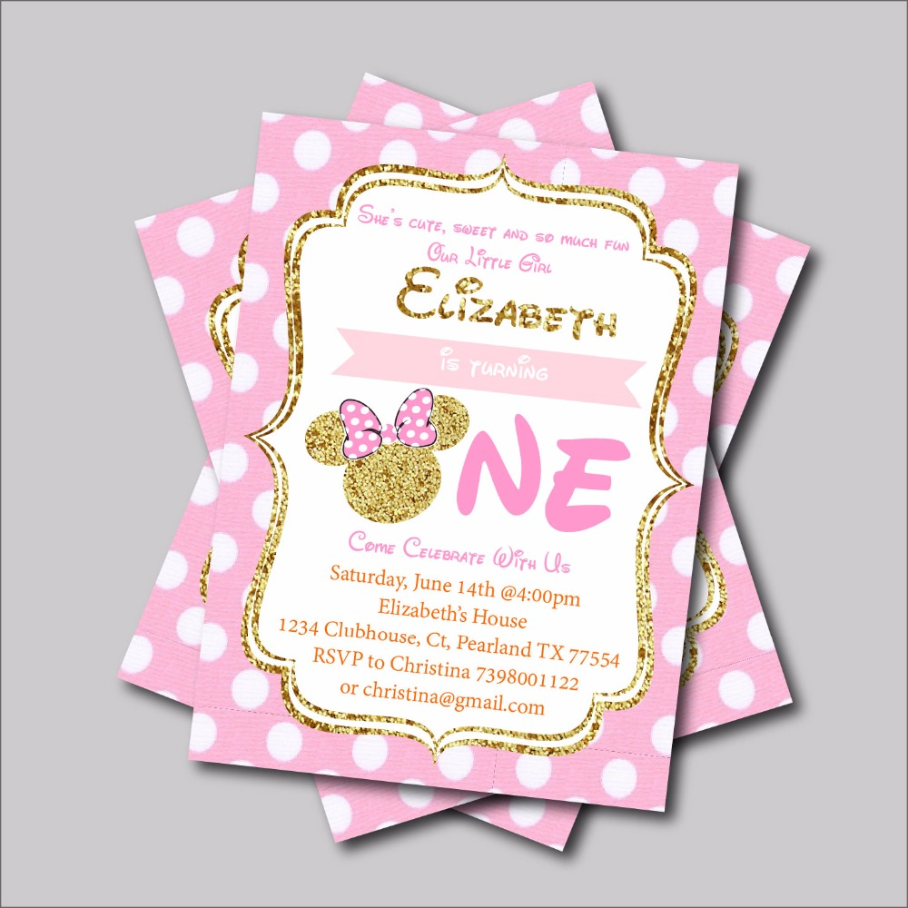 Us 5 39 40 Off 14 Pcs Lot Minnie Mouse Birthday Invitation Mickey Minnie Mouse Baby Shower Invites Custom Kids Birthday Party Decoration Supply In