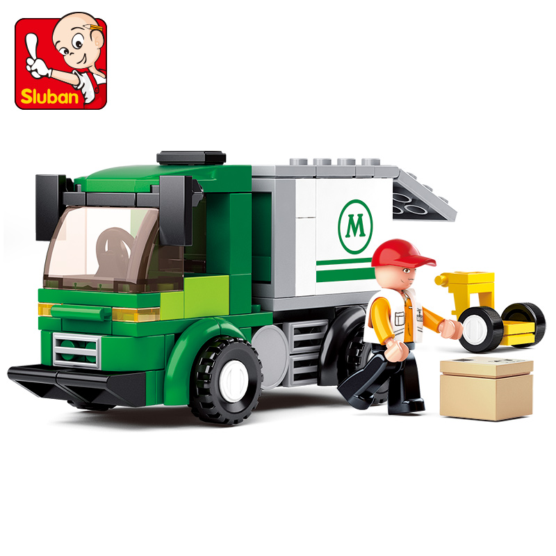 0368 SLUBAN 121Pcs City Series Airport Van Truck Model Building Blocks Enlighten DIY Figure Toys For Children Compatible Legoe 3345 technic city series mini container truck model building blocks enlighten figure toys for children compatible 8065