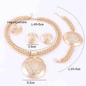 Image 5 - האחרון יוקרה גדול דובאי כסף מצופה תכשיטי סטי אופנה ניגרי חרוזים אפריקאים תלבושות שרשרת צמיד עגיל טבעת
