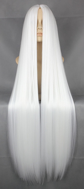 Fei-Show White Wig 100CM/40 Inches Synthetic Heat Resistant Fiber Long Halloween Costume Cos-play Carnival Straight Salon Hair