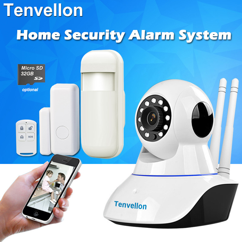 Tenvellon Alarm Systems Security Home WiFi Wireless Network Security Alarm System Kits IP Camera Door Sensor