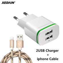 XEDAIN Good EU plug 5V 2A 2 USB Ports Phone Fast Charging Wall Power Adapter LED Light USB Charger Cable For iPhone 5 6 7 8 ipad(China)