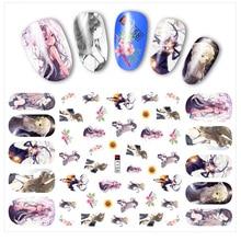 1 Sheet Water Decals Nail Art Stickers Flowers Cartoon Animal 24 Designs Transfer